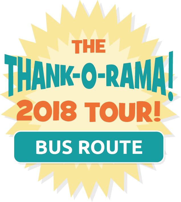 The Thank-o-rama 2018 Tour Bus Route